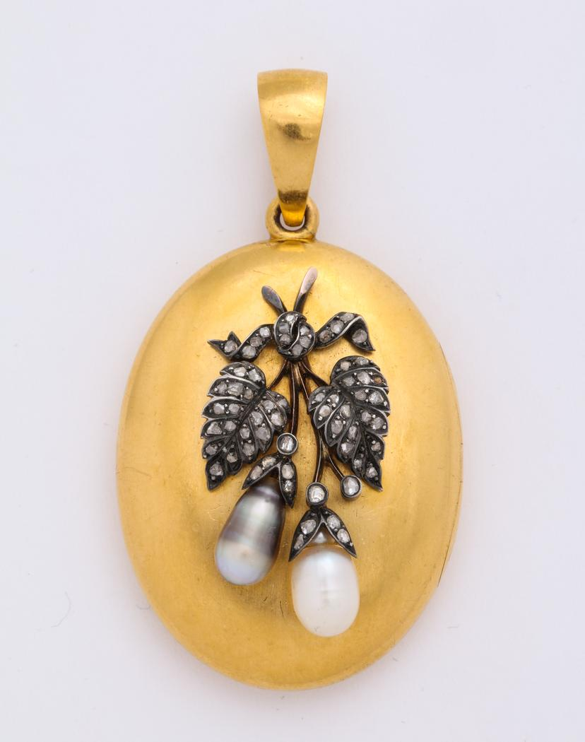 18 Karat Locket with Diamond and Pearl Leaf and Berry Design